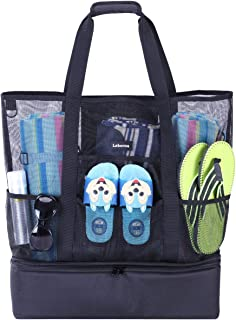 Mesh Beach Bag Pool Tote Bag with Large Insulated Cooler Section Shoulder Bag Family Travel Tote for Beach, Picnic, Gym