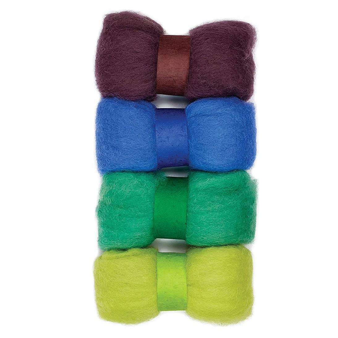 Dimensions 72-75789 Wool Roving Set for Arts and Crafts, 4pc, 2 Ounces, Brown, Blue, Green, and Yellow