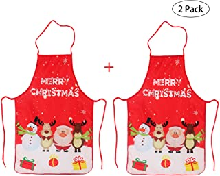LeeLoon 2 Pack Chistmas Apron, Holiday Kitchen Apron Christmas Santa Claus/Elk/Snowman Style Decoration Apron for Christmas Dinner Party Cooking Baking Crafting House Cleaning Kitchen