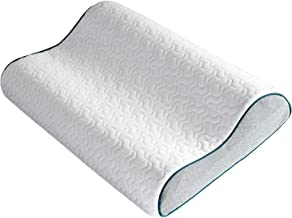 Bedsure Contour Memory Foam Pillow - Ergonomic Cervical Pillows for Neck Pain, Neck Support for Back, Side Sleepers - Gel-Infused Bed Pillows with Washable Zippered Cover - Standard Size