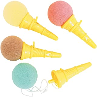 Kicko Mini Ice Cream Shooters - Pack of 12-3.5 Inches Assorted Colors Balls, Brown, Pink and Blue, Yellow Cones - for Kids, Boys and Girls - Party Favors, Toy, Fun, Prize