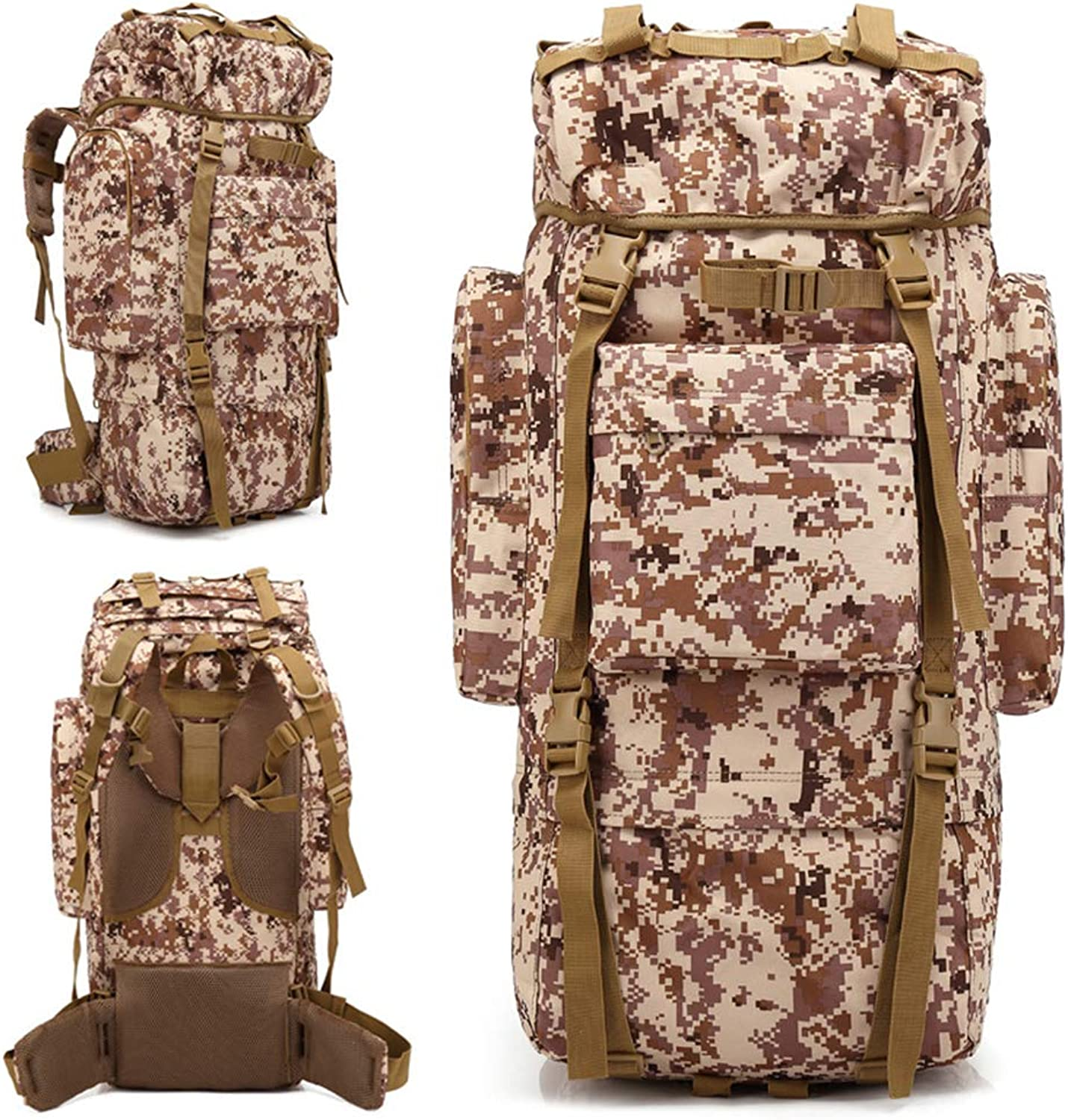 65L Internal Frame Backpack Tactical Military Rucksack for Camping Hiking Bag (Camouflage)