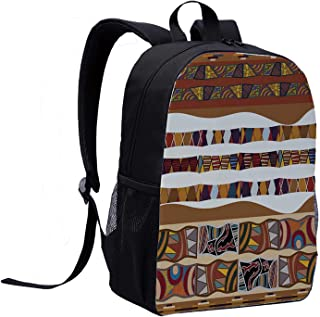 Tribal Individual Backpack,Traditional African Folk with Cultural Featured Trippy Icons Boho Abstract Design Decorative for School,12″L x 5″W x 17″H