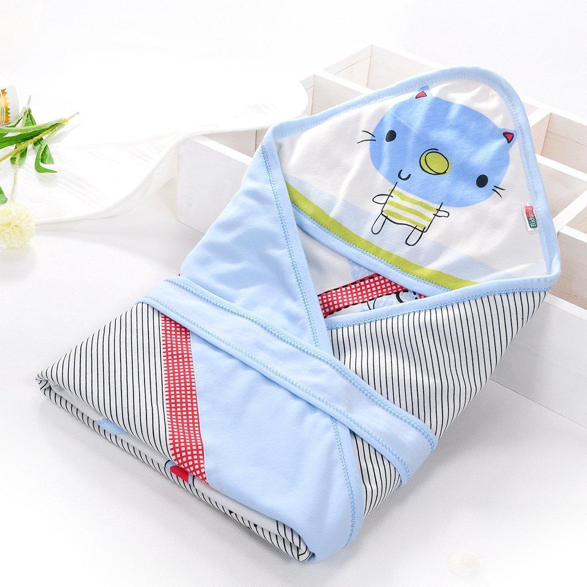 比多乐 婴幼儿抱被新生儿包被 婴儿全棉多功能包被宝宝外出抱毯抱被睡袋两用用品儿童狮子卡通包被春夏秋薄款 抱被+系带1个 6172款 (蓝色)