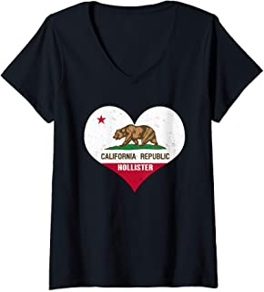 Womens I Love Hollister, California - CA Republic Flag Heart V-Neck T-Shirt