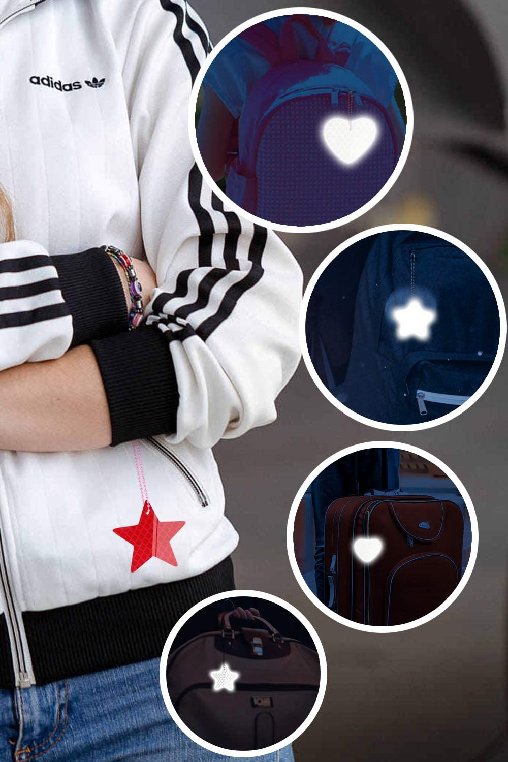 Hocaies Reflective Pendant Decoration with Ball Chain Attach to Backpack Jacket and Trolley Efficiently Reflects Light Beneficial to Road Safety.