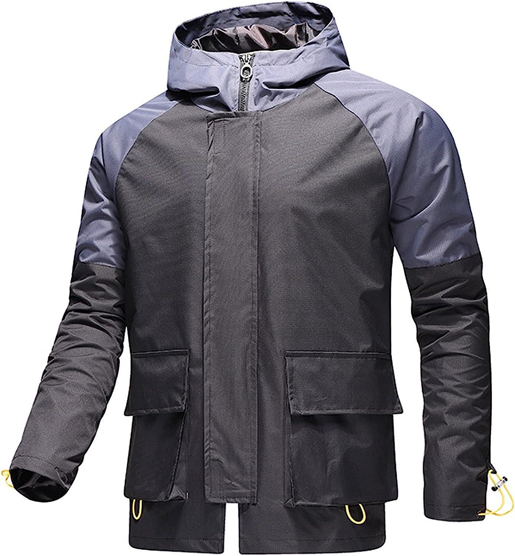 Huangse Mens Rain Jackets Hooded Raincoat Outdoor Waterproof Lightweight Windproof Adjustable Rain Coat Windbreaker