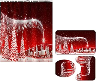 Bathroom Accessory Sets,Christmas Shower Curtain with Hooks, Bathroom Mats, Toilet Mat Seat Cover, Contour Mat 4 Pack, Chr...