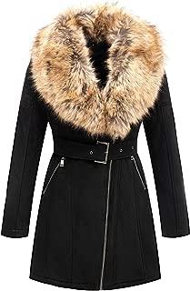 Women's Faux Suede Long Jacket, Wonderfully Heavy Coat with Detachable Faux Fur Collar