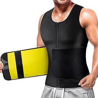 Mens Sauna Vest Waist Trainer Neoprene Tank Top Shapewear Shirt Workout Suit with Zip Yellow