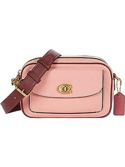 코치 카메라백 COACH Color-Block Leather Willow Camera Bag,Candy Pink Multi