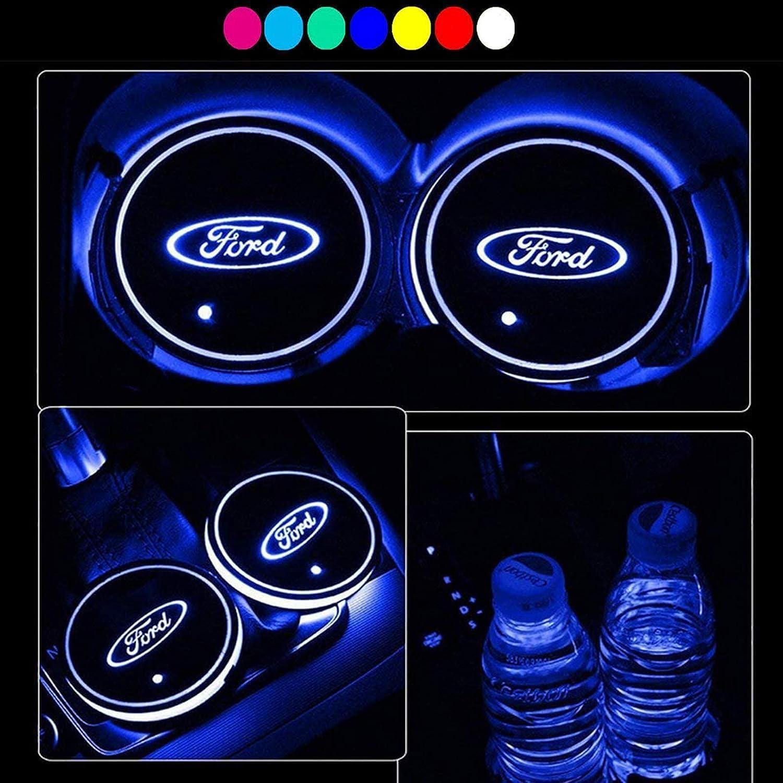 Fiat Auto Cup Led Auto Lichter Auto Led Innenbeleuchtung 7 Farben und 3 Modi Des Usb-ladens Led Untersetzer f/ür Die Innenraumdekoration Achterbahn Zubeh/ör Atmosph/äre Licht Auto Led Untersetzer