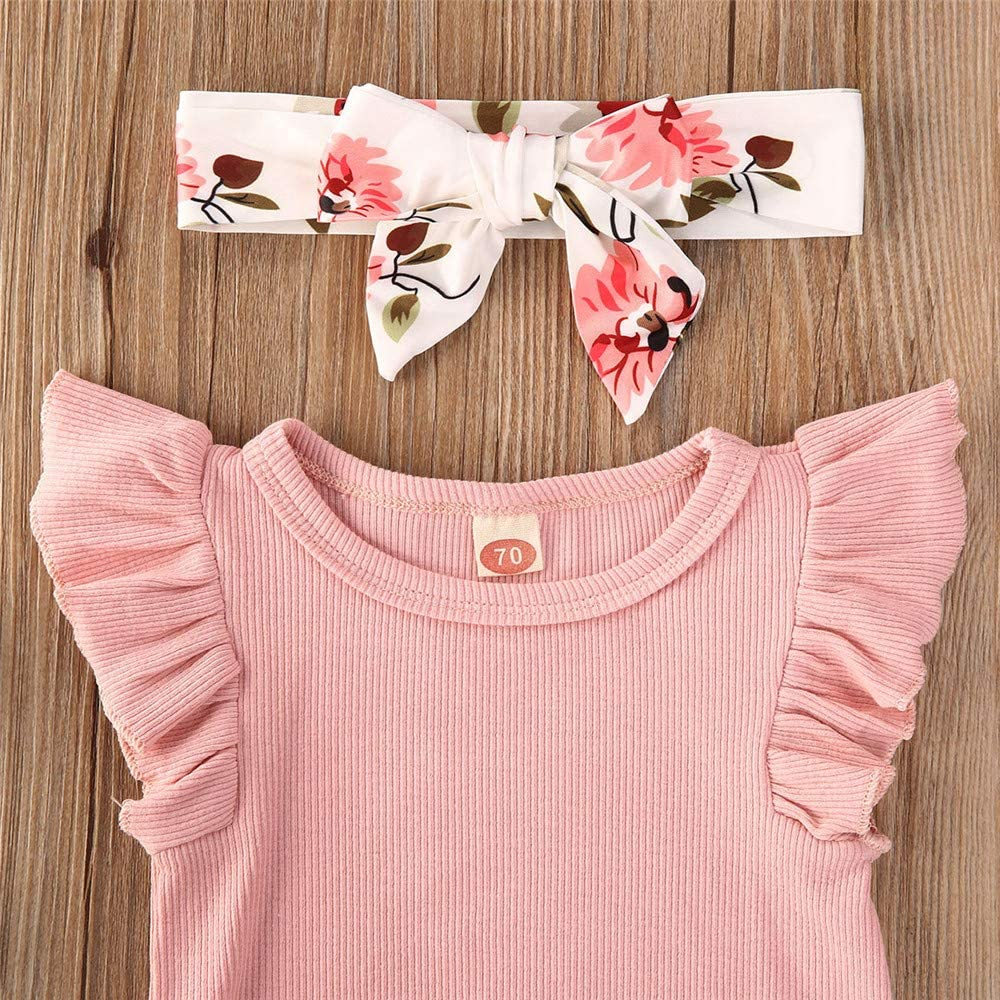 Infant Baby Girls Clothes Sets Flutter Sleeve Romper Bodysuit Tops /& Floral Bloomer Shorts Headband 3Pcs Outfits