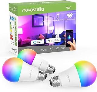 NOVOSTELLA Bombillas de luz led inteligentes de colores con Alexa wifi (Funciona Google Home IFTTT) temporización regulable RGBCW sintonizable (E27 RGB) 9W (Pack de 3)