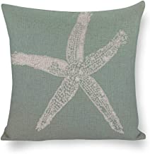 Decorative Pillow Covers Sea Foam Green Ombre Starfish Throw Pillow Case Cushion Cover Home Office Decor,Square 16 X 16 In...