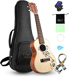 Concert Ukulele 23 inch Hricane Spruce Ukeleles For Beginners Carved Flower Hawaiian Ukele with Ukulele Case and Ukele Str...