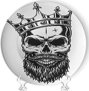YOLIYANA Black White Skull Crown Beard Vector Porcelain Plates Ceramic Decorative Plates,jeffcyb33820o,6 Inch