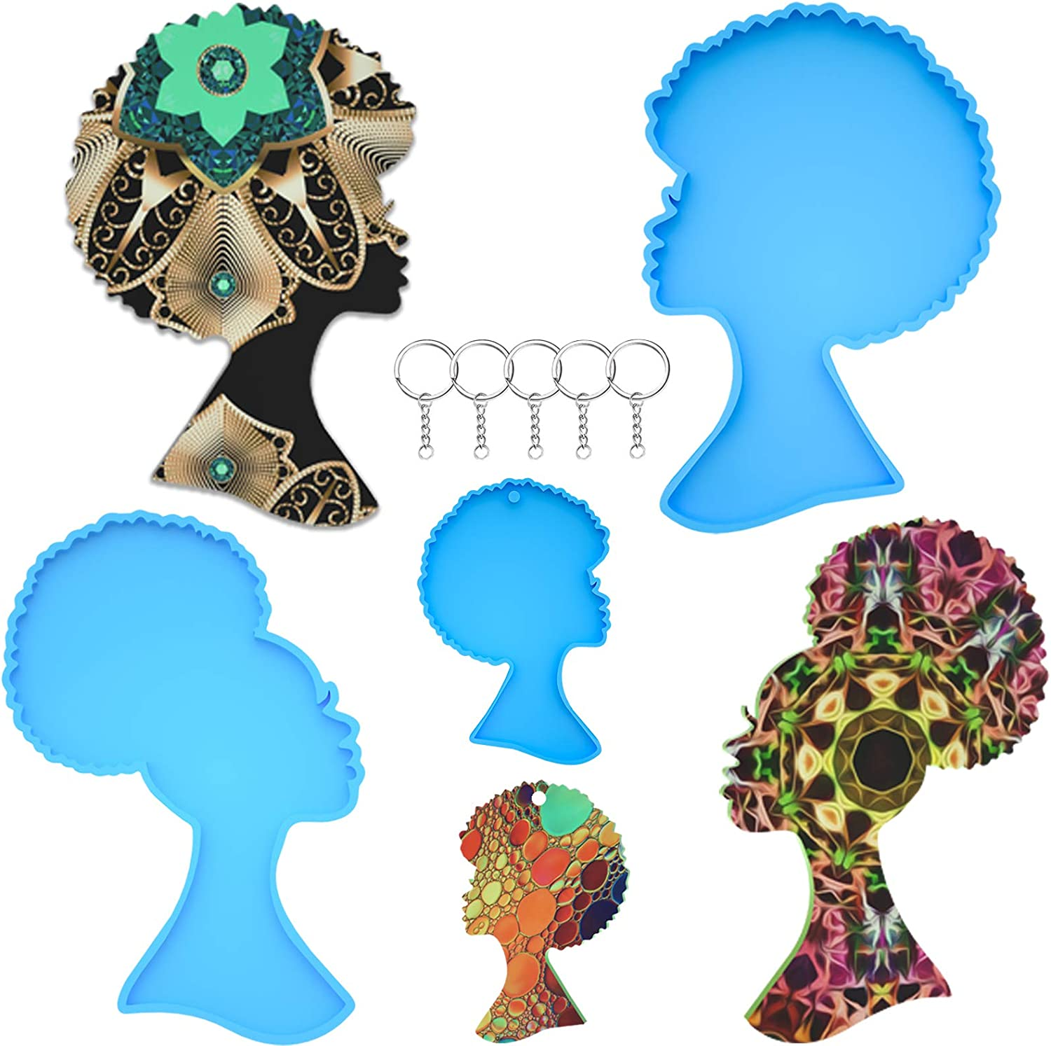 famous Anasido 3Pcs Resin Very popular Molds Silicone Bundle Woman Head Kit Coaster