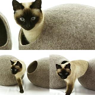 猫ベッド、ペットハウス、洞穴、うたた寝用の繭(コクーン)、100%ウールの100%ハンドメイド、Kivikis製 サンドブラウン色 [並行輸入品]