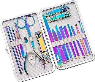 Juego de manicura 18 en 1 de acero inoxidable profesional de pedicura kit de herramientas para mujeres hombres con estuche...