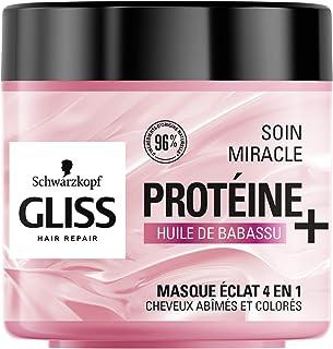Schwarzkopf - Gliss - Masque Soin Miracle Eclat 4 en 1 - Cheveux abîmés et colorés - 96% d'ingrédients d'origine naturelle...