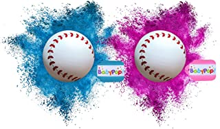 BabyPop! 2 Gender Reveal Baseballs Exploding Packed with EXTRA Powder, Team Pink & Team Blue Baby Shower Party Supplies - (1 Pink Girl & 1 Blue Boy Baseball) - By BabyPop!