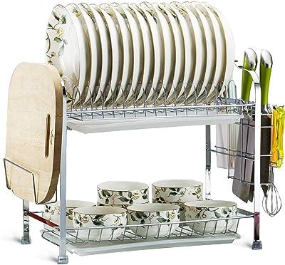 MDHAND Escurridor de platos, 2 niveles con estante para platos, soporte para cuchillos y tabla de cortar, escurridor para cocina, mostrador, fregadero