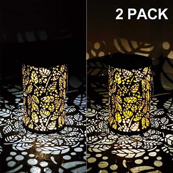 Alritz Solar Lantern Outdoor Hanging 2 Pack Waterproof LED Solar Lights Retro Leaf Pattern Decorative Lamps For Garden Patio Tabletop Warm Cold White Auto On Off Bronze