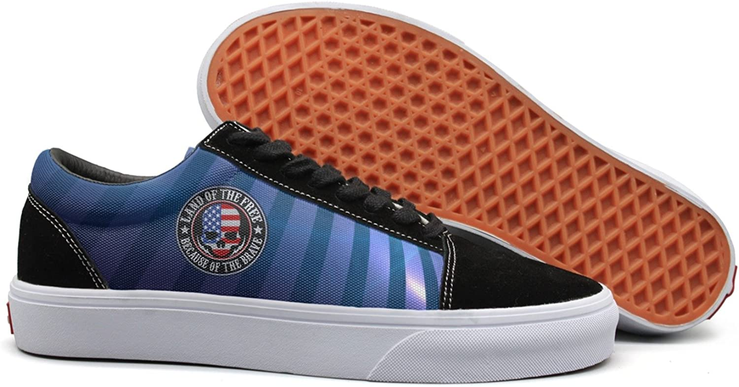 SKULL-Land of the Free Because of the Brave American Flag Skull women fashion canvas shoes