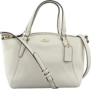 Coach Mini Kelsey Pebble Leather Crossbody Bag (Chalk White/Gold)