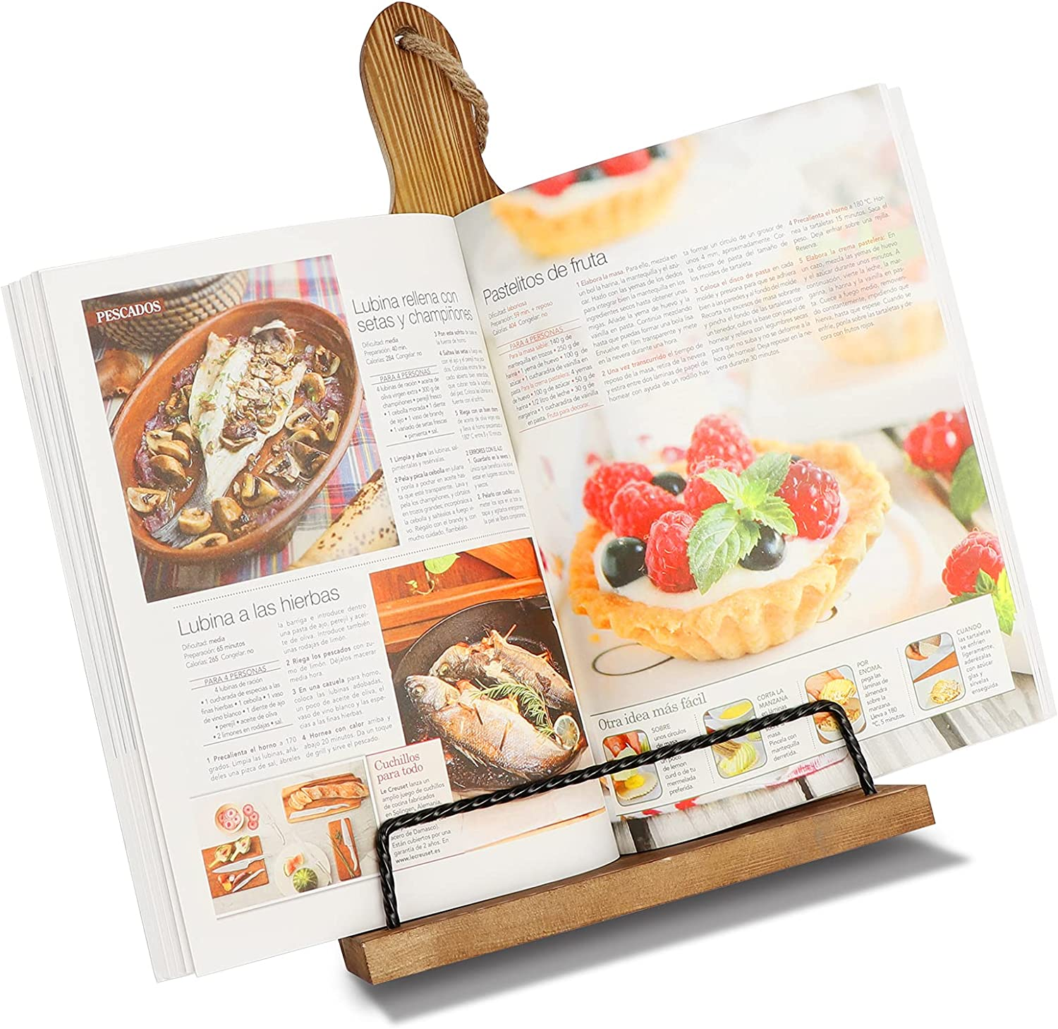 AerWo Cookbook Stand for Kitchen Counter, Rustic Adjustable Recipe Book Holder, Sutible Portable iPad Tablet Book Stand with Anti-Slip Kickstand, Wood Cutting Board Farmhouse Decor Cook Book Stands