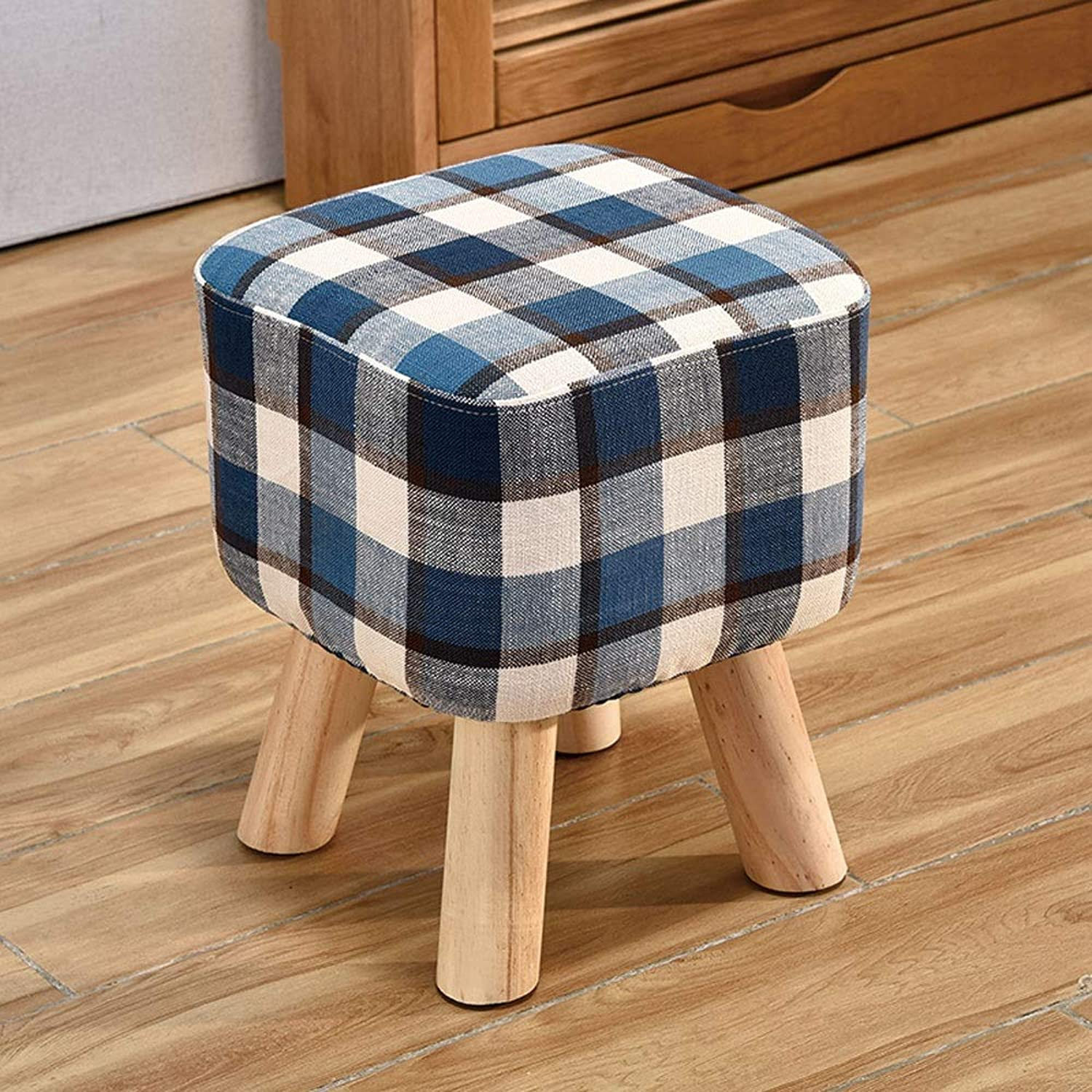Solid Wood Heightening Stool Creative Living Room Change shoes Stool Fashion Fabric Sofa Bench Bench (color   bluee)