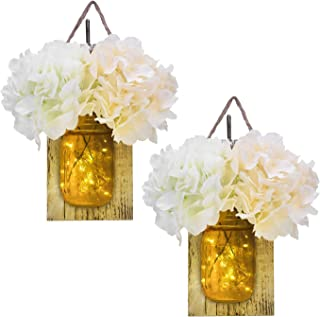 KINDEN Mason Jar Sconce - LED Timer Fairy Lights, Rustic Wooden Board with Bronze Retro Hooks, Glass Mason Jars, Hemp Ropes, 2 White & 2 Champagne Flowers, Hanging Wall Decor Crafts, Set of 2