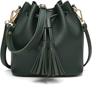 GLJJQMY Women's Bag New Korean Women's Tassel Bucket Bag Portable Slung Shoulder Bag, 20x11x19cm Hand Bag (Color : Green)