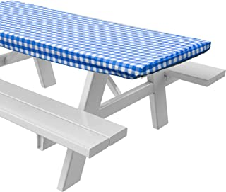 Sorefy Vinyl Picnic Table Fitted Tablecloth Cover, Checkered Design, Flannel Backed Lining, 28 x 72 Inch (72