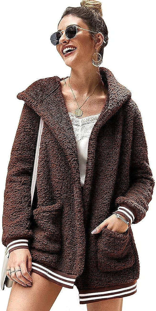 Chigant Womens Large-scale sale Fleece Hooded Coat Teddy In a popularity Winter Oversized Sherpa
