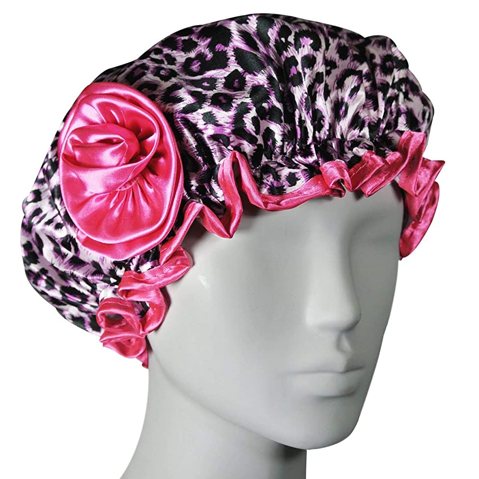 Kella Milla Stylish Satin Shower Cap, Pink Leopard
