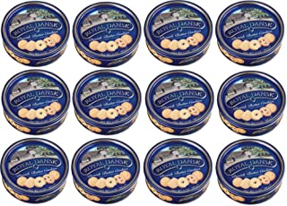 Royal Dansk 81997 Danish Butter Cookies (Pack of 12), Blue Flat Display, Reusable Classic Tin Filled, Made of Real Butter, No Preservatives or Coloring Added, Net Weight 12 Ounce (340 gr)