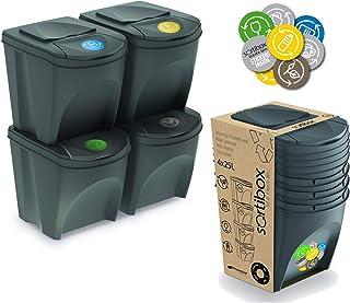 Prosperplast Juego de 4 Cubos para Reciclar la Basura, 20L C