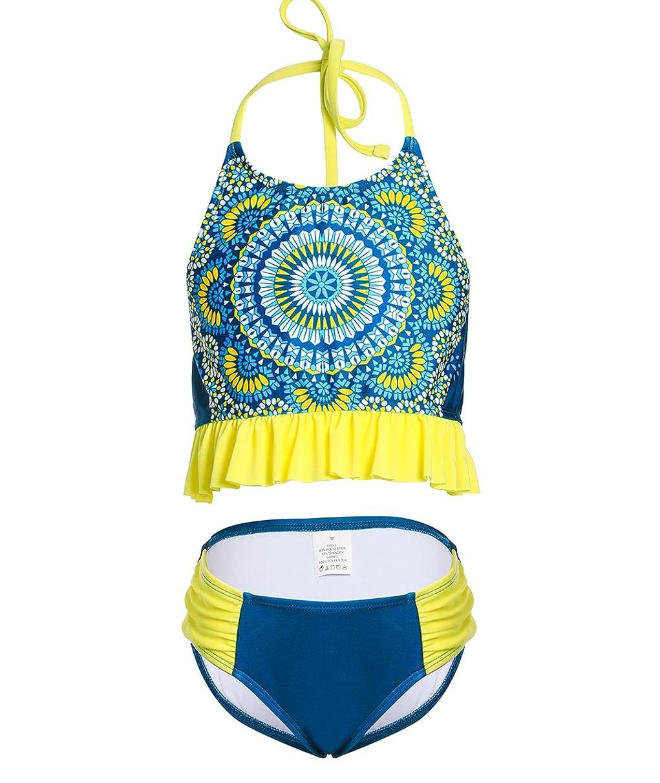 BELLOO Girl's Retro Floral Printed Bikini Two Piece Swimsuit Halter Bathing Suit