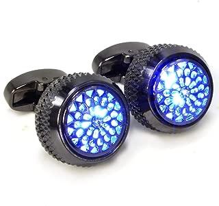 Men's Cufflinks LED Glowing Cufflinks Gemstone Light Stylish Shirts Business Weddings Party Gift/LED Cufflink Battery