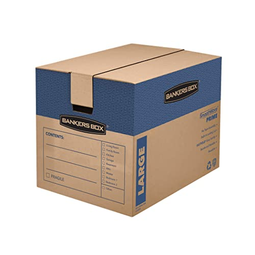 Bankers Box SmoothMove Prime Moving Boxes, Tape-Free, FastFold Easy Assembly, Handles, Reusable, Large, 24 x 18 x 18 Inches