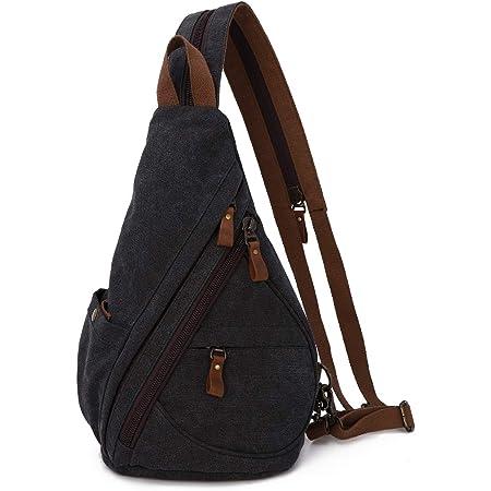 KL928 Canvas Sling Bag Rucksack Damen und Herren – Schulterrucksack Umhängetasche Crossbag Verstellbarem Schultergurt Perfekt für Outdoorsport, Wandern, Radfahren, Bergsteigen, Reisen
