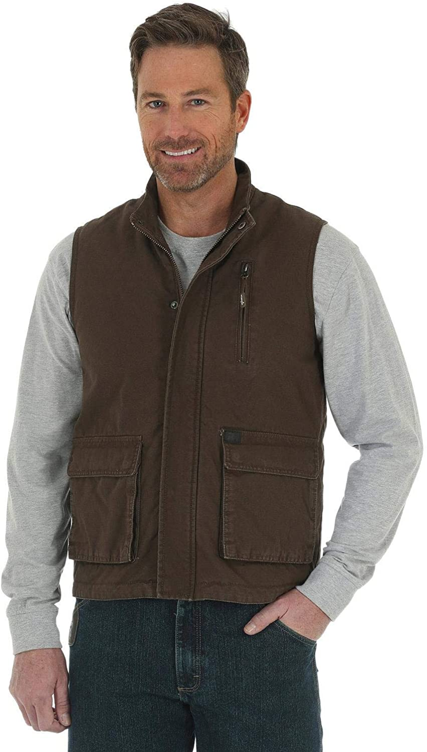 Wrangler Men's Riggs Foreman Work Vest Big and Tall Brown 2X