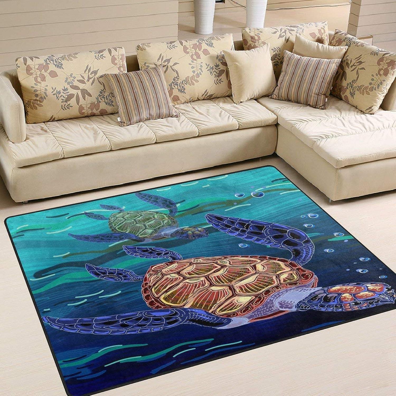 Turtle Swim in The Sea for Floor Mat Rug Indoor Front Door Kitchen and Living Room Bedroom Mats Rubber Non Slip