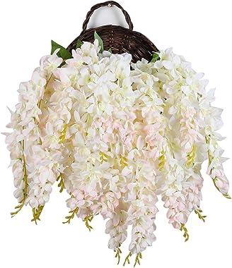 Duovlo Silk Wisteria Flower Artificial 2.13 Feet Hanging Wisteria Vine Fake Flower Bush String Home Party Wedding Decoration,