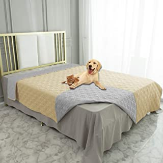Ameritex Waterproof Dog Bed Cover Pet Blanket for Furniture Bed Couch Sofa Reversible (68x82 Inches, Beige+Lightgrey)