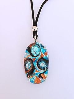 Murano Glass Oval Necklace - Light Blue