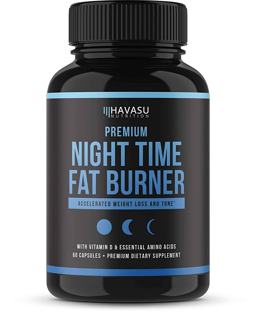 Night Time Weight Loss Pills with Premium Vitamin D, Green Coffee Bean Extract, White Kidney Bean Extract, L-Theanine, L-Tryptophan, Melatonin- Non Habit Forming PM Fat Burner & Metabolism Booster