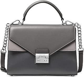 MICHAEL Michael Kors Womens Sloan Leather Top Handle Satchel Handbag Gray Small